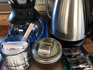 coffee perculator with snacks